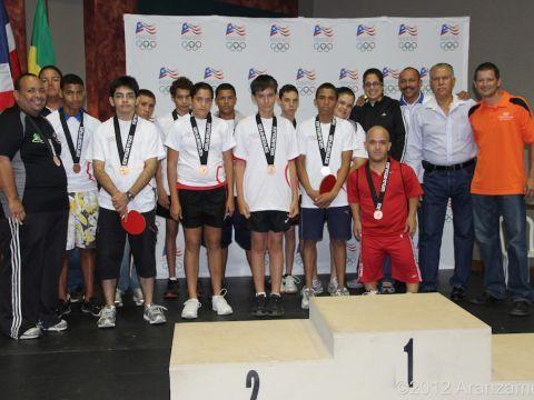 Los ganadores de la categoría de Olimpiadas Especiales junto a varios Dirigentes y Directivos Deportivos