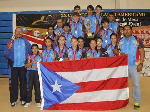 Delegación de Puerto Rico que alcanzó la segunda posición en la puntuación Global del Campeonato Latinoamericano