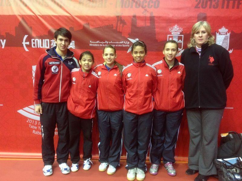 Atletas de la Delegación de Puerto Rico en Marruecos de Izq. a Der. Brian Afanador, Adriana Díaz, Daniely Ríos, Lineris Rivera y Leticia Castaldo (Delegada).